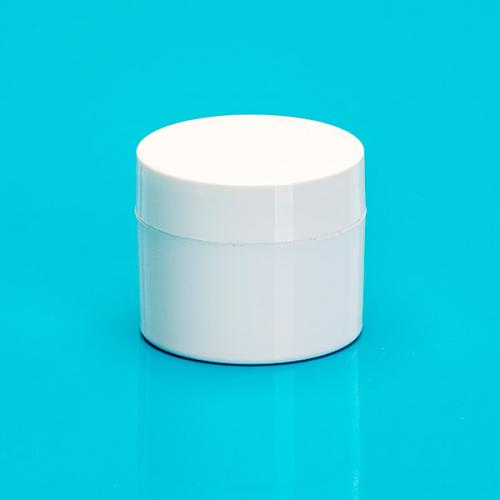 5 ml jar double walled white PP,  lid & masking disc white
