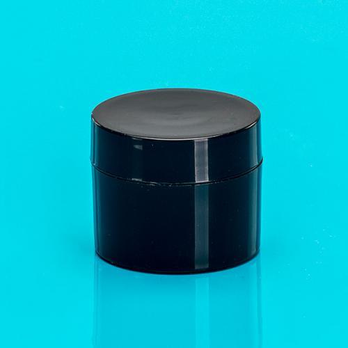 5 ml Dose außen schwarz, PP Deckel schwarz,  Abdeckscheibe