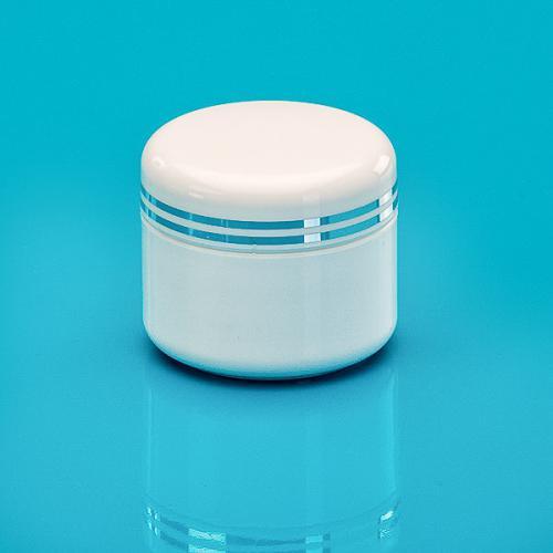 5 ml Dosenunterteil, weiß, PP, Deckel weiß 2 silber Bändern, PS, inkl. Abdeckscheibe