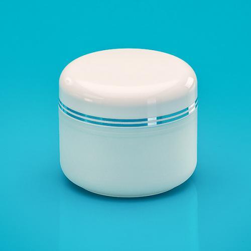 50 ml Dose, edelmatt, PP, Deckel weiß 2 silber Bänder, inkl. Abdeckscheibe