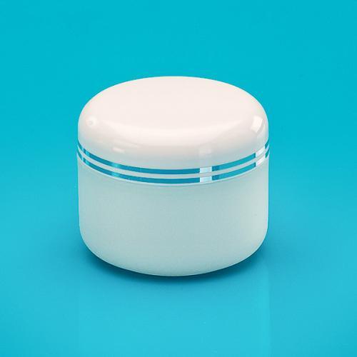 15 ml Dose, edelmatt, PP, Deckel weiß 2 silber Bänder, PS, inkl. Abdeckscheibe