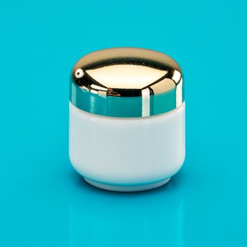 50 ml Glasdose, Opalglas, Deckel gold inkl. Einlage Luxor