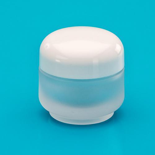30 ml Glasdose, edelmattiert, Deckel weiß
