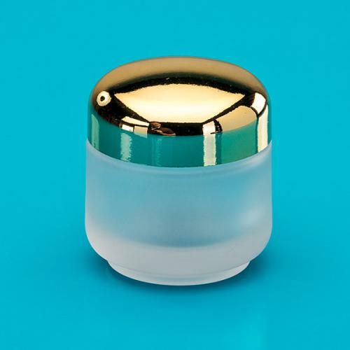50 ml glass-jar, frosted, lid gold-metallized, incl.insert