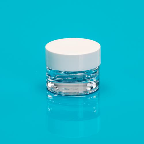 4 ml Glasdose, klarglas, Deckel PP, weiß inkl. Einlage Luxor