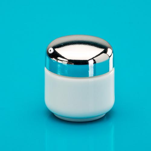 50 ml Opal-Glasdose, Deckel silber  inkl. Einlage Luxor