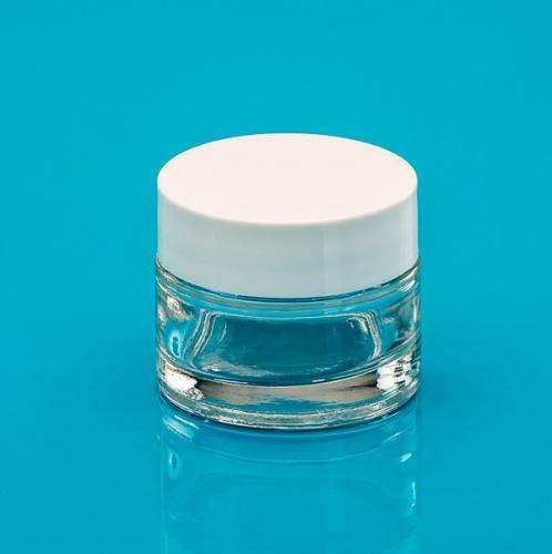 50 ml jar clear glass,  lid white