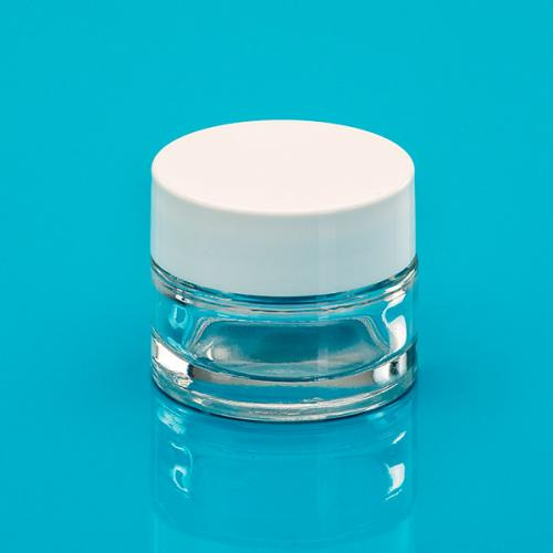 15 ml jar clear glass,  lid white
