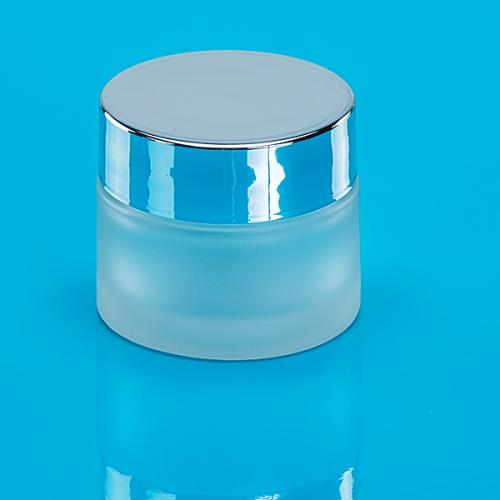 50 ml Glas-Dose, matt  Deckel silber
