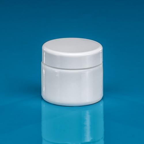 "100 ml Opal-Glasdose, Deckel weiß inkl. Einlage ""Avantgarde"""