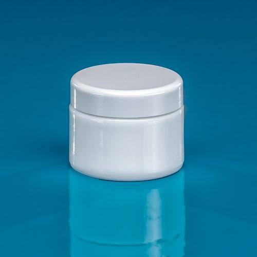 30 ml jar white opal-glass,  lid silver-metallized incl.insert
