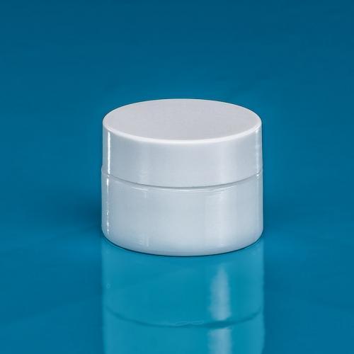 "15 ml Opal-Glasdose, Deckel weiß inkl. Einlage ""Avantgarde"""
