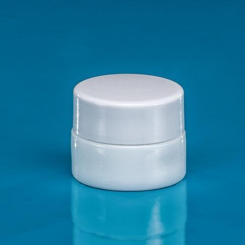 "5 ml Opal-Glasdose, Deckel weiß inkl. Einlage ""Avantgarde"""