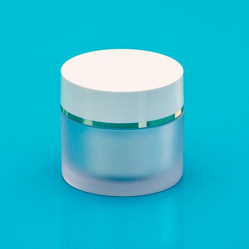 15 ml jar frosted SAN,  jar-insert white PP unmount., lid w/gold
