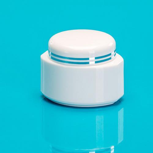 """5 ml Dose, weiß, PP/PS, """"Oval"""", Deckel weiß 2 silberne Bänder, PS, inkl. Abdeckscheibe"""