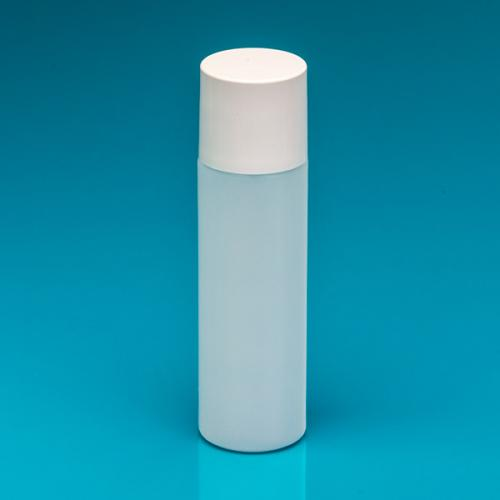 250 ml bottle round nature HDPE,  dbl.walled lid white, spray-ins