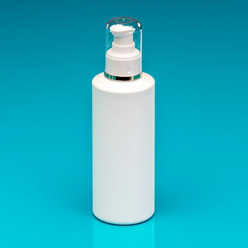 200 ml Flasche weiß HDPE, Dispenser, Hub 0,5 ml Kappe klar/Goldrand, Steigrohr ungek.
