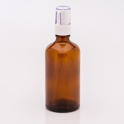 100 ml glass bottle brown clip-cap clear, dispenser white