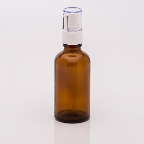 50 ml Braunglasflasche, Dispenser Hub 0,14 ml, weiß, Steigrohr ungekürzt