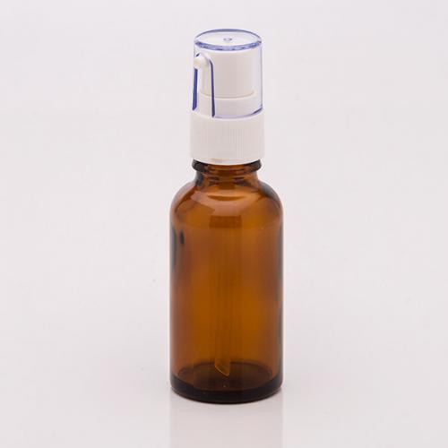30 ml Braunglasflasche, Dispenser Hub 0,14 ml, weiß, Steigrohr ungekürzt