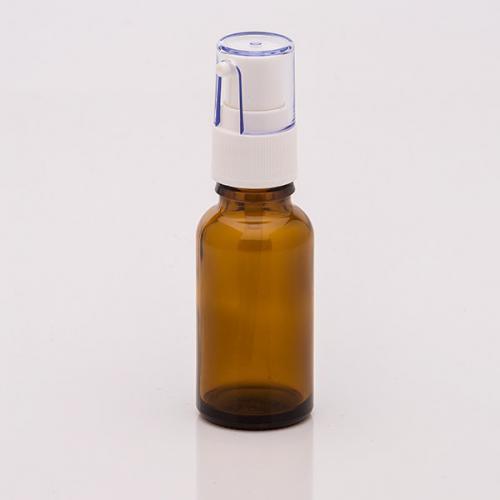 20 ml Braunglasflasche, Dispenser Hub 0,14 ml, weiß, Steigrohr ungekürzt