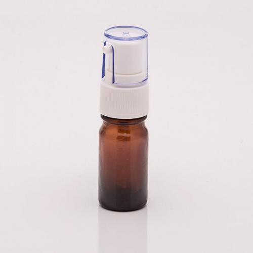5 ml Braunglasflasche, Dispenser Hub 0,14 ml, weiß, Steigrohr ungekürzt