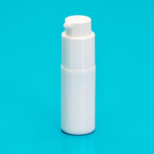 20 ml Flasche Opalglas weiß, Dispenser  Hub 0,5 ml, Steigrohr ungekürzt