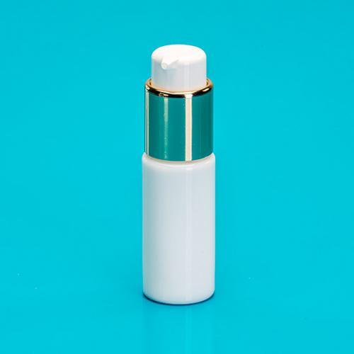 20 ml Flasche Opalglas weiß, Dispenser  Hub 0,5 ml, gold/weiß, Steigrohr ungekürzt