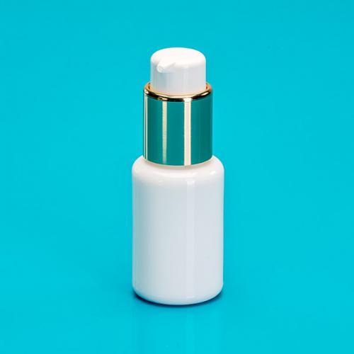 30 ml Flasche Opalglas weiß, Dispenser  Hub 0,5 ml, gold/weiß, Steigrohr ungekürzt