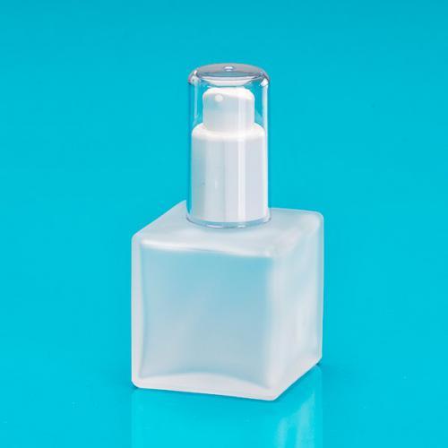 50 ml Flasche Glas edelmatt/eckig, Dispenser weiß, Kappe klar Hub 0,14 ml, Steigrohr ungekürzt
