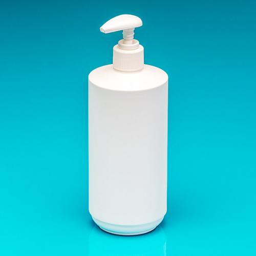 500 ml Flasche HDPE weiß, zylind. Dispenser glatt,