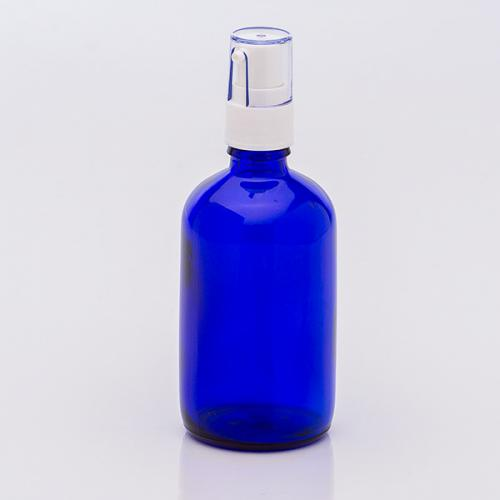 100 ml Blauglasflasche, Dispenser weiß,
