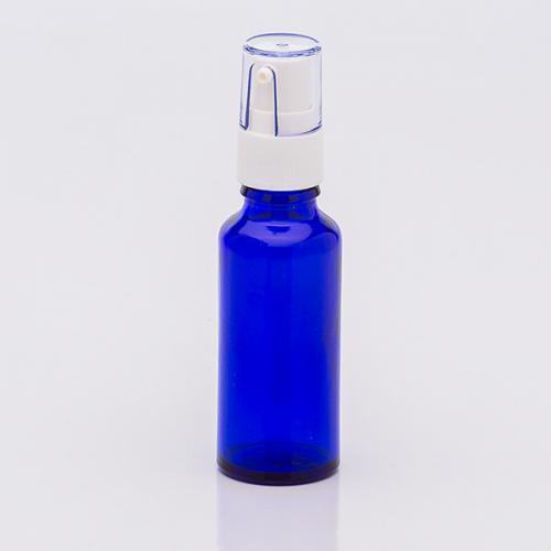 30 ml Blauglasflasche, Dispenser weiß, Hub 0,14 ml, Steigrohr ungekürzt
