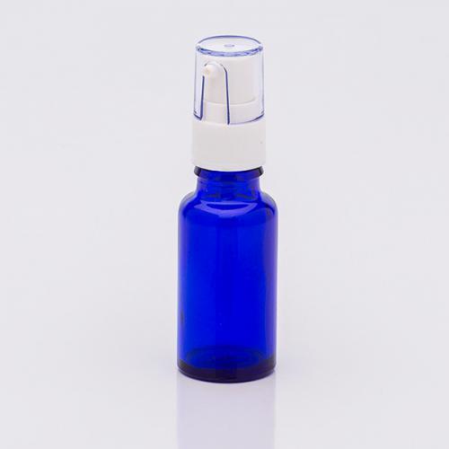 20 ml Blauglasflasche, Dispenser weiß Hub 0,14 ml, Steigrohr ungekürzt