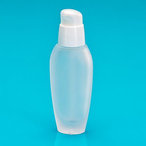 30 ml Flasche Glas oval, matt, Dispenser weiß  Hub 0,24 ml, Kappe natur