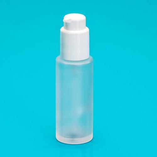 50 ml Flasche Glas, rund, edelmatt, Dispenser weiß, Hub 0,5 ml, Kopf zum Verriegeln, Steigrohr ungek.