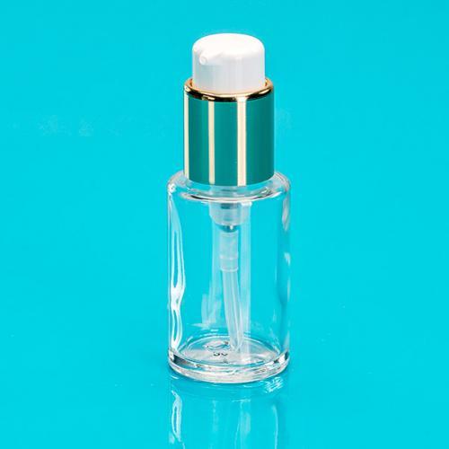 30 ml Flasche Glas, rund, Dispenser gold/weiß, Hub 0,5 ml, Kopf zum Verriegeln