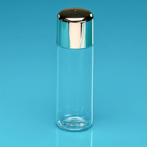 "100 ml Flasche, PETG klar, Deckel goldmet. PS, Spritzeins ""Softline"""