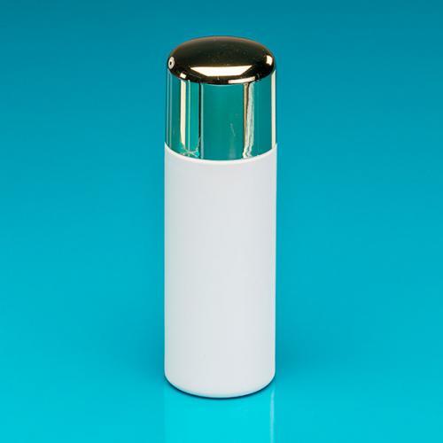 """200 ml Flasche weiß, HDPE Deckel, gold-met./SAN, Spritzeinsatz """"Softline"""""""