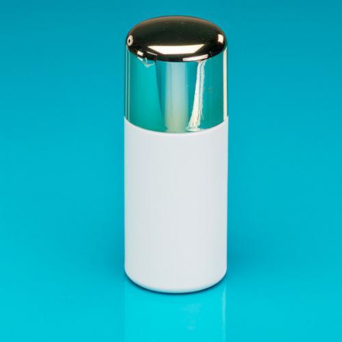 """150 ml Flasche weiß, HDPE Deckel gold-met./SAN, Spritzeinsatz """"Softline"""""""