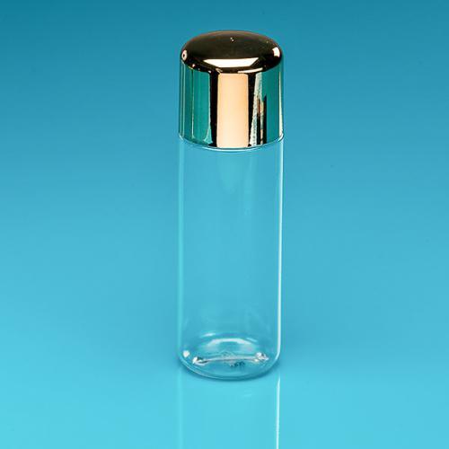 200 ml Flasche glasklar PETG Deckel gold SAN, Spritzeinsatz