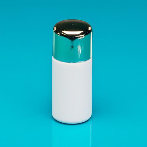 """50 ml Flasche weiß HDPE, """"Softline"""" Deckel gold, PS, Spritzeinsatz"""