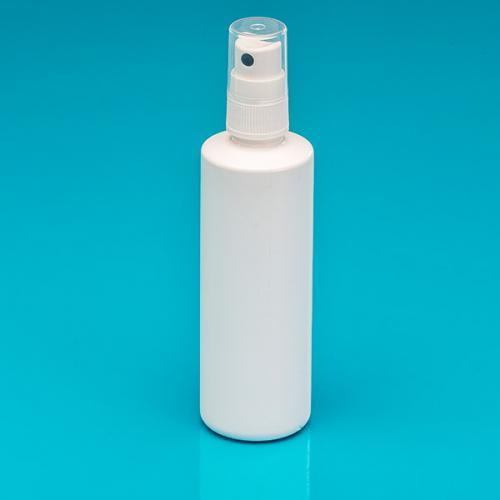 100 ml Flasche weiß, PP, Sprühk. weiß GL18, Hub 0,10 ml Steigrohr ungekürzt