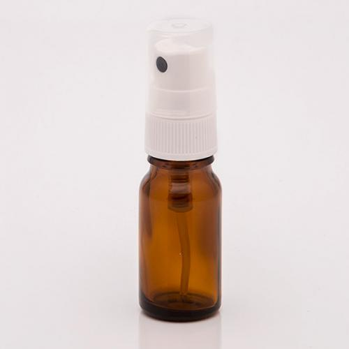 10 ml Braunglasflasche , DIN18, Sprühkopf Hub 0,10 ml, Steigrohr ungekürzt