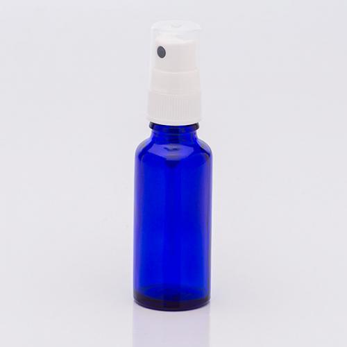 30 ml Blauglasflasche, DIN 18, Sprühkopf Hub 0,10 ml, Steigrohr ungekürzt
