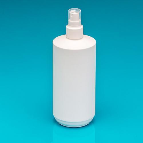 500 ml Flasche weiß HDPE, Zylindr. Sprühkopf