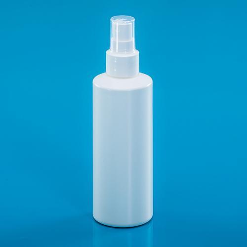 200 ml Flasche weiß HDPE, DIN24, Sprühkopf weiß Up-Side-Down, f. alkohol. Lösungen, Steigrohr ungek.