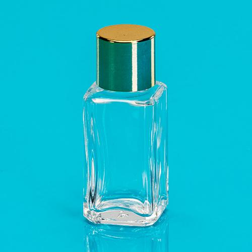 7 ml bottle clear-glass/square,  screw-lid gold