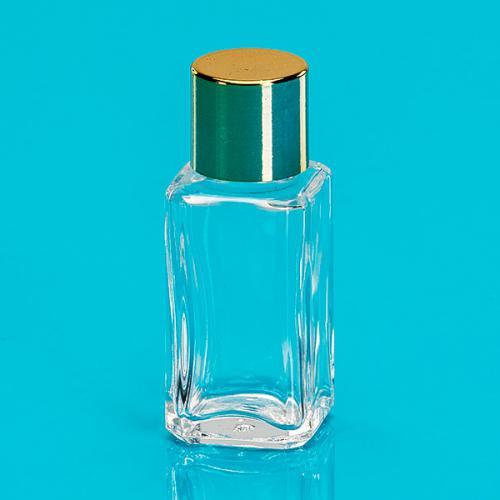 """7 ml Klarglas-Flasche, viereckig Deckel gold """"Quadro"""""""