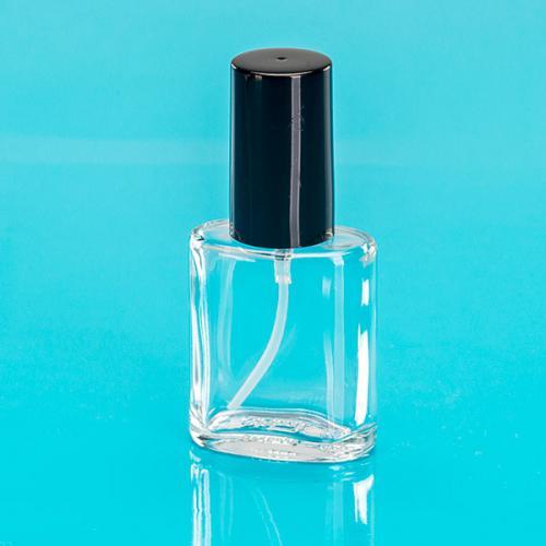 30 ml Klarglas Flasche oval, Sprühkopf u. Kappe schwarz, Steigrohr ungekürzt